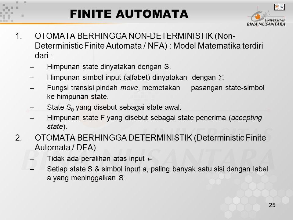 FINITE AUTOMATA OTOMATA BERHINGGA NON-DETERMINISTIK (Non-Deterministic Finite Automata / NFA) : Model Matematika terdiri dari :