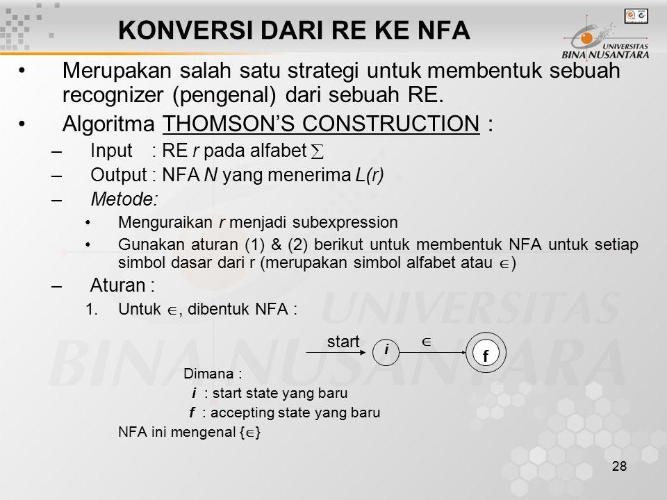 KONVERSI DARI RE KE NFA Merupakan salah satu strategi untuk membentuk sebuah recognizer (pengenal) dari sebuah RE.
