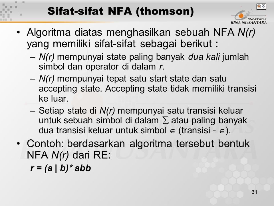 Sifat-sifat NFA (thomson)