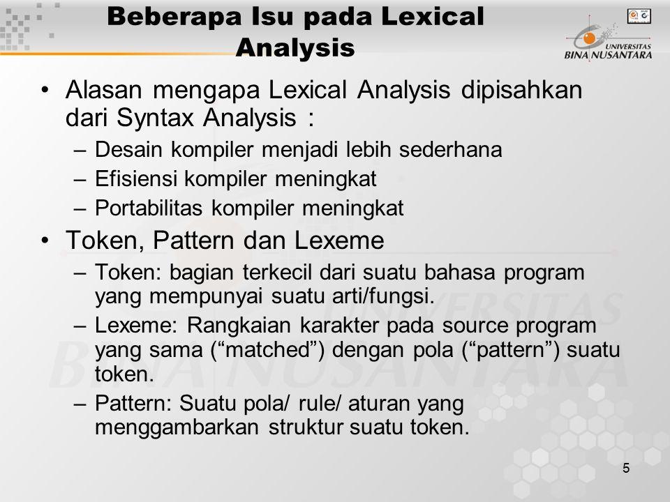 Beberapa Isu pada Lexical Analysis