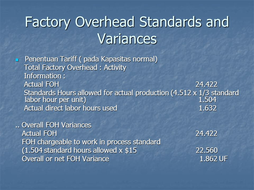 Factory Overhead Standards and Variances