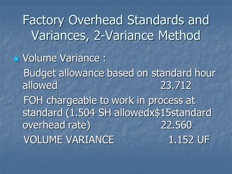 Factory Overhead Standards and Variances, 2-Variance Method