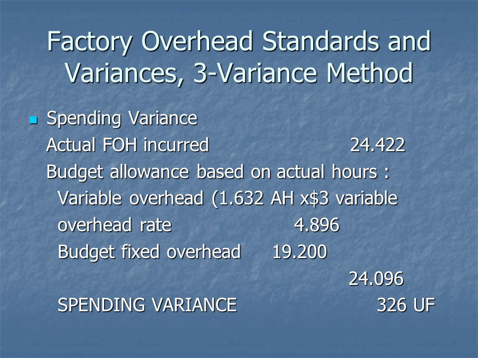 Factory Overhead Standards and Variances, 3-Variance Method