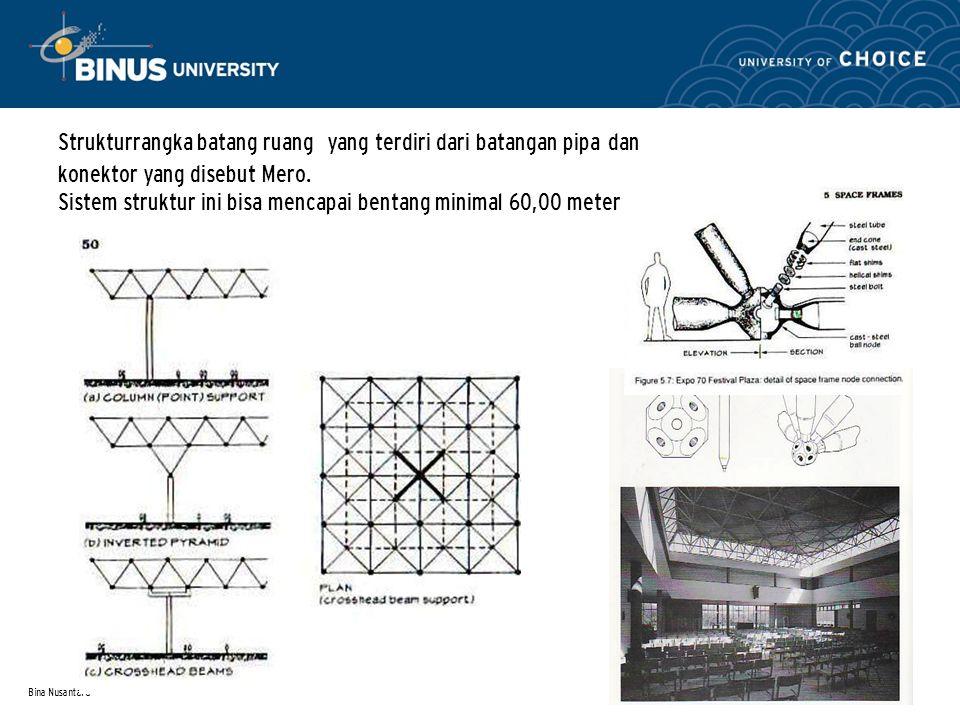 Strukturrangka batang ruang yang terdiri dari batangan pipa dan konektor yang disebut Mero. Sistem struktur ini bisa mencapai bentang minimal 60,00 meter