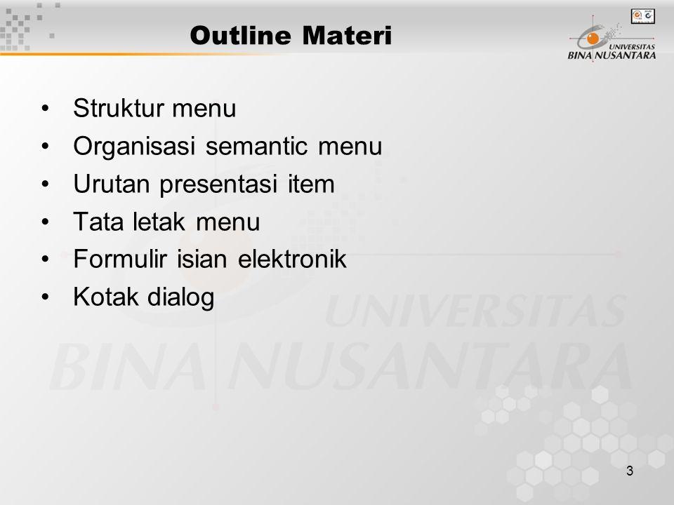 Outline Materi Struktur menu. Organisasi semantic menu. Urutan presentasi item. Tata letak menu.