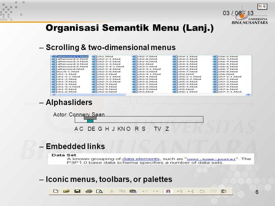 Organisasi Semantik Menu (Lanj.)