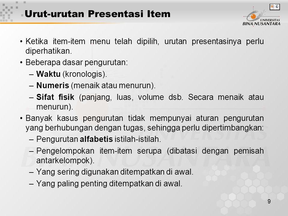 Urut-urutan Presentasi Item