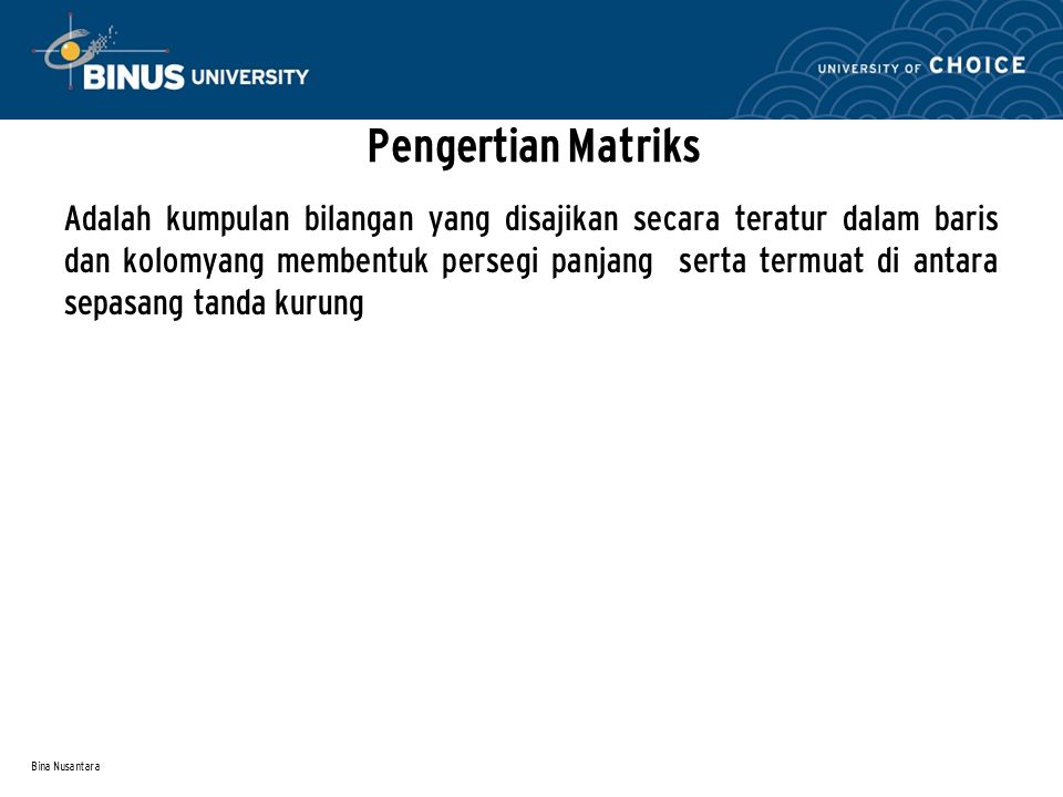 Pengertian Matriks