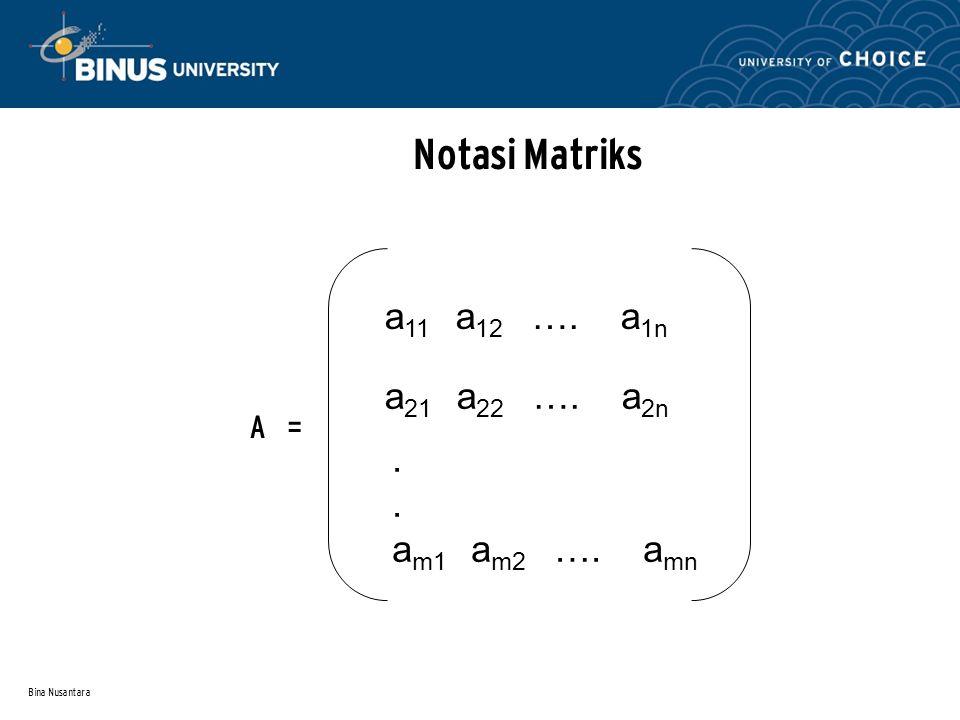 Notasi Matriks a11 a12 …. a1n a21 a22 …. a2n . am1 am2 …. amn A =