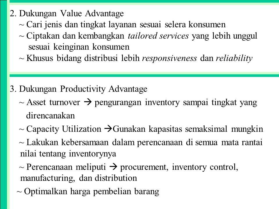 2. Dukungan Value Advantage ~ Cari jenis dan tingkat layanan sesuai selera konsumen ~ Ciptakan dan kembangkan tailored services yang lebih unggul sesuai keinginan konsumen ~ Khusus bidang distribusi lebih responsiveness dan reliability