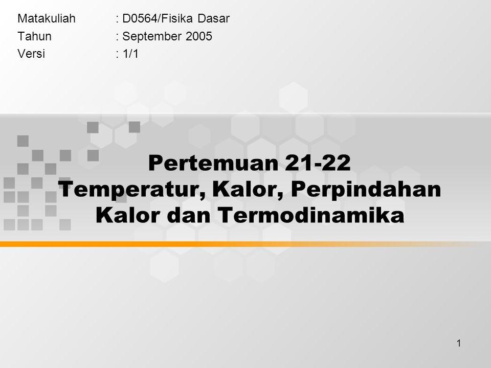 Pertemuan 21-22 Temperatur, Kalor, Perpindahan Kalor dan Termodinamika