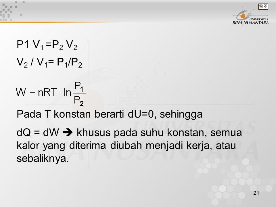 P1 V1 =P2 V2 V2 / V1= P1/P2. Pada T konstan berarti dU=0, sehingga.