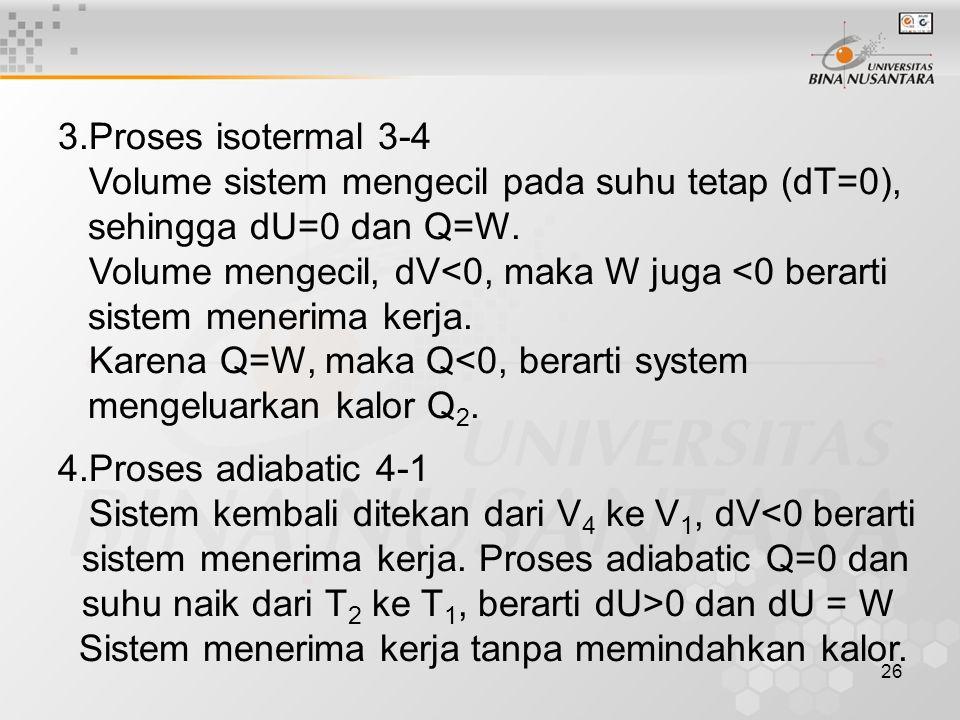 3.Proses isotermal 3-4 Volume sistem mengecil pada suhu tetap (dT=0), sehingga dU=0 dan Q=W.