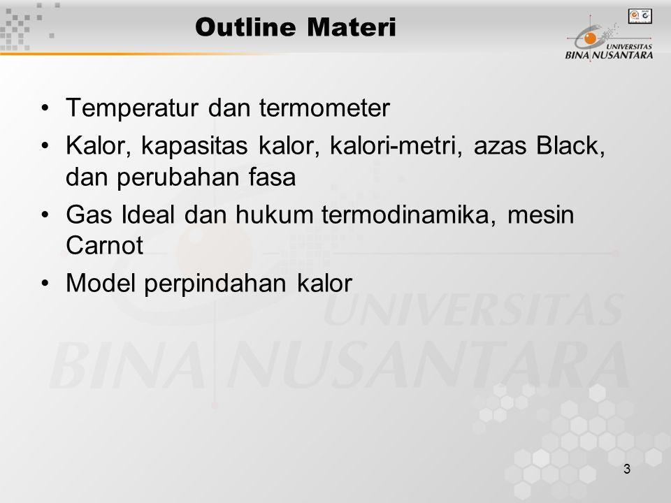 Outline Materi Temperatur dan termometer. Kalor, kapasitas kalor, kalori-metri, azas Black, dan perubahan fasa.
