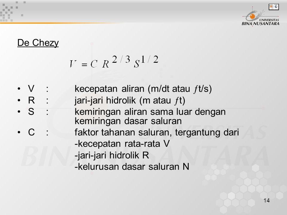 De Chezy V : kecepatan aliran (m/dt atau t/s) R : jari-jari hidrolik (m atau t)