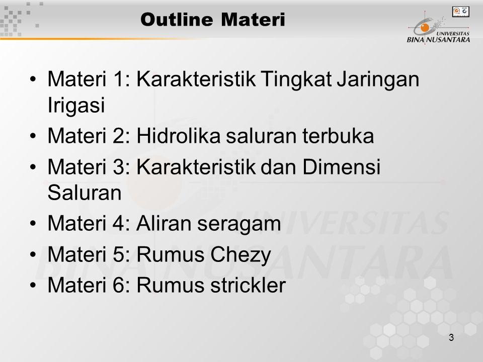 Materi 1: Karakteristik Tingkat Jaringan Irigasi