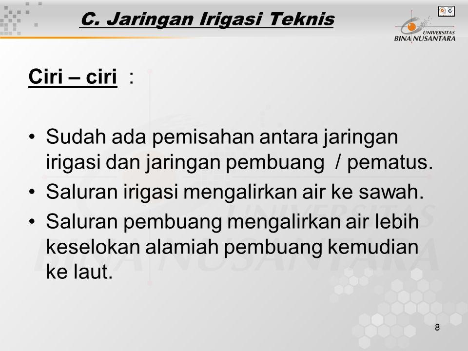 C. Jaringan Irigasi Teknis