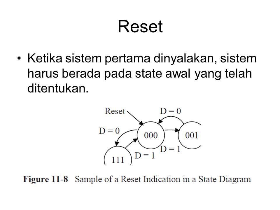 Reset Ketika sistem pertama dinyalakan, sistem harus berada pada state awal yang telah ditentukan.