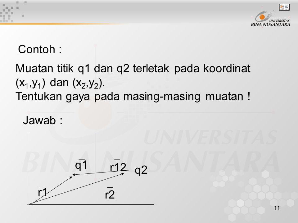 Contoh : Muatan titik q1 dan q2 terletak pada koordinat (x1,y1) dan (x2,y2). Tentukan gaya pada masing-masing muatan !