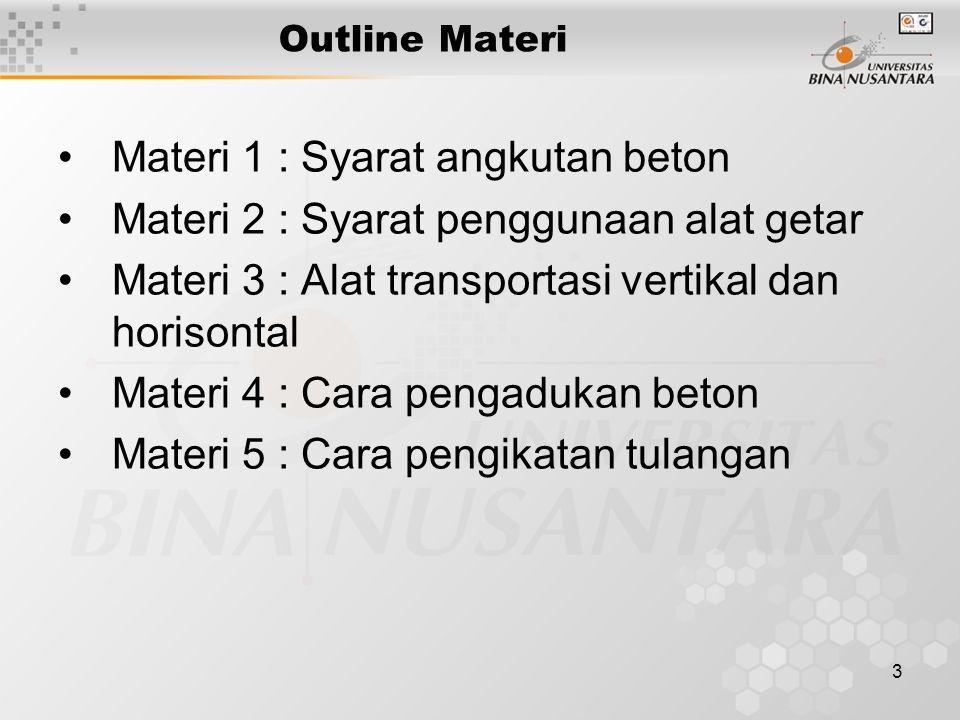 Materi 1 : Syarat angkutan beton