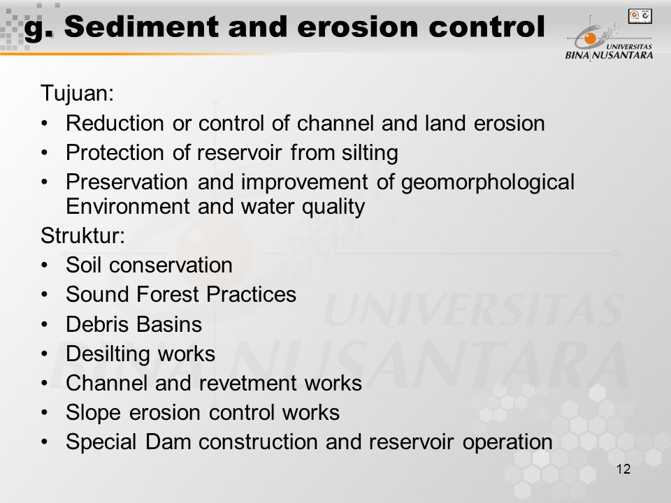 g. Sediment and erosion control