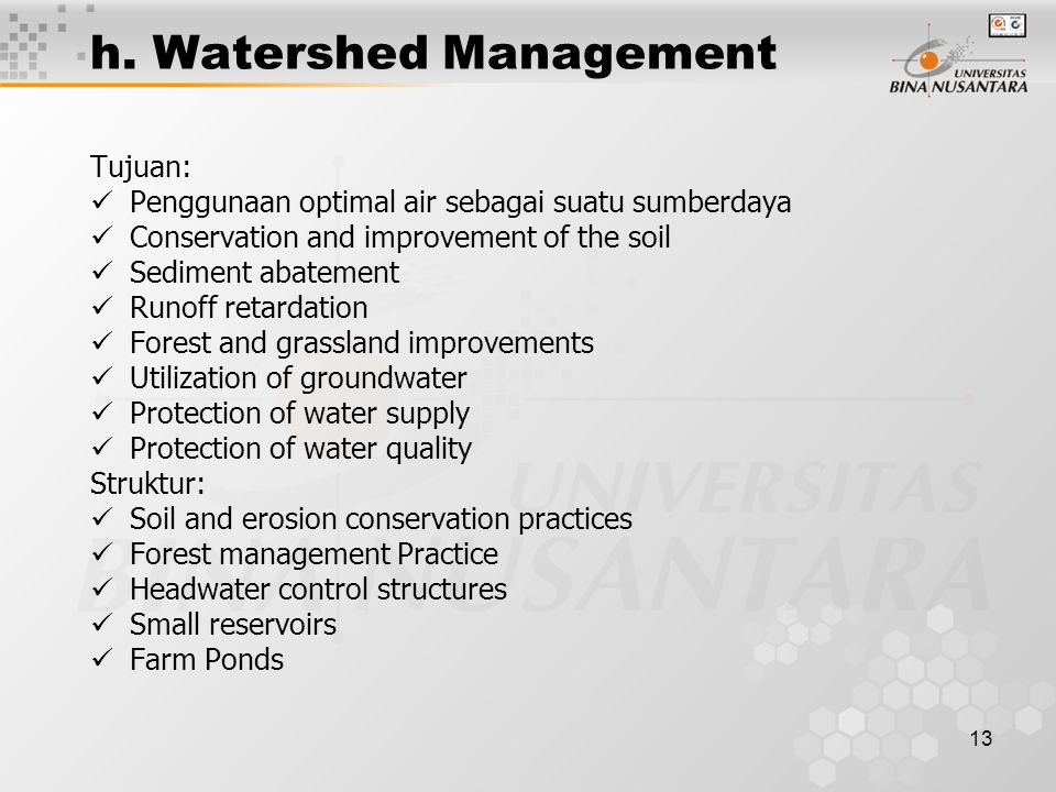 h. Watershed Management