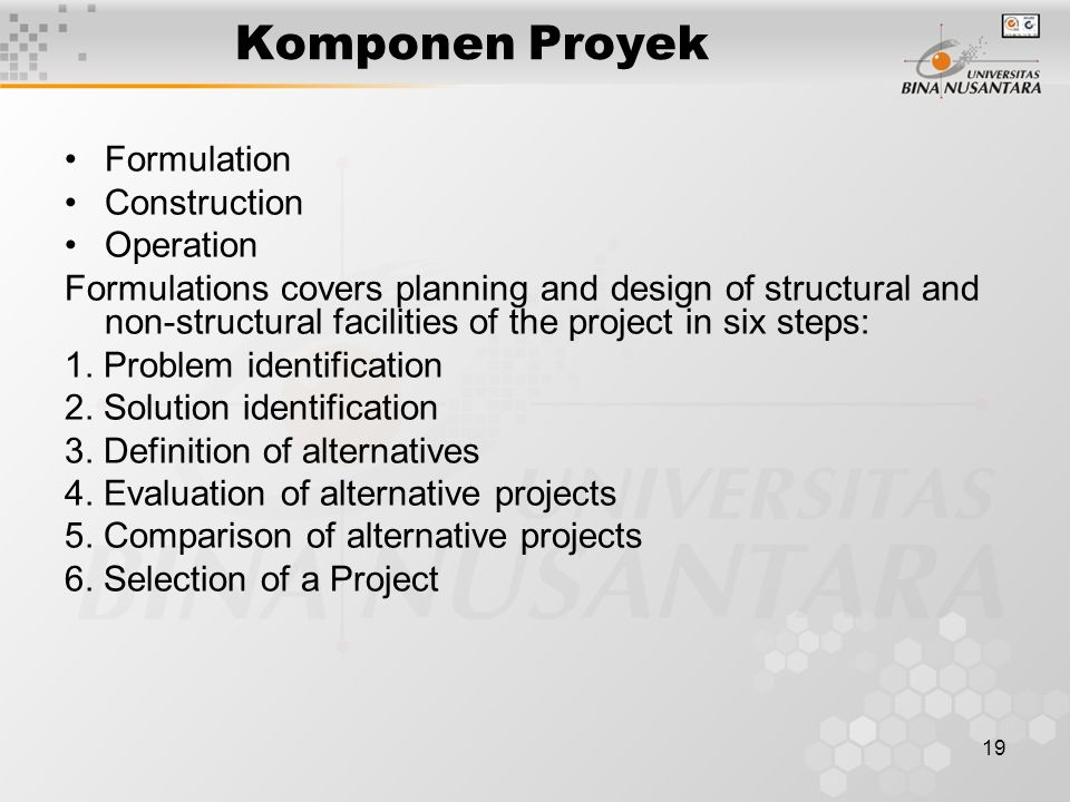 Komponen Proyek Formulation Construction Operation