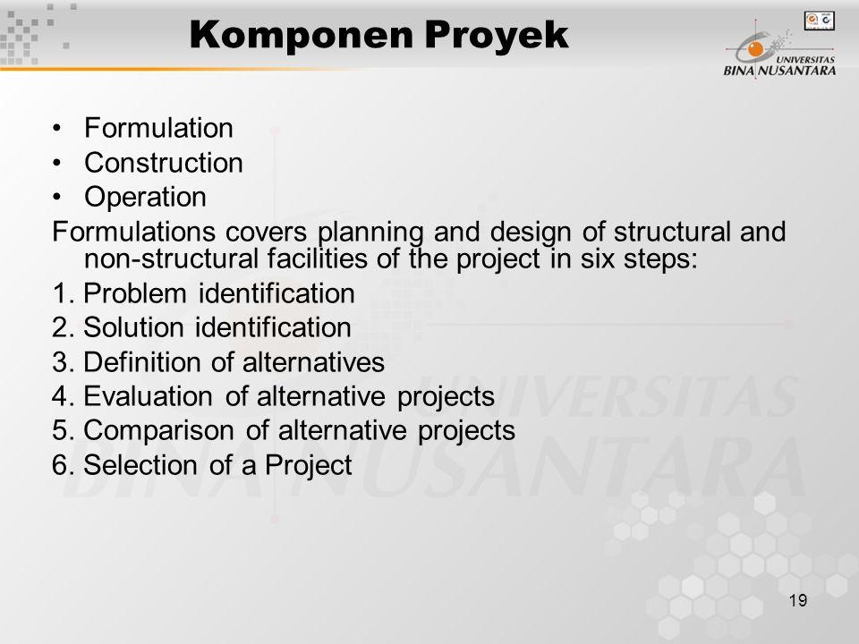 Komponen Proyek Formulation Construction Operation