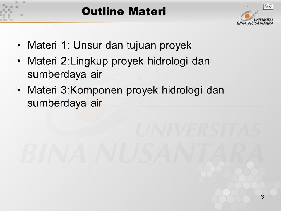 Outline Materi Materi 1: Unsur dan tujuan proyek. Materi 2:Lingkup proyek hidrologi dan sumberdaya air.