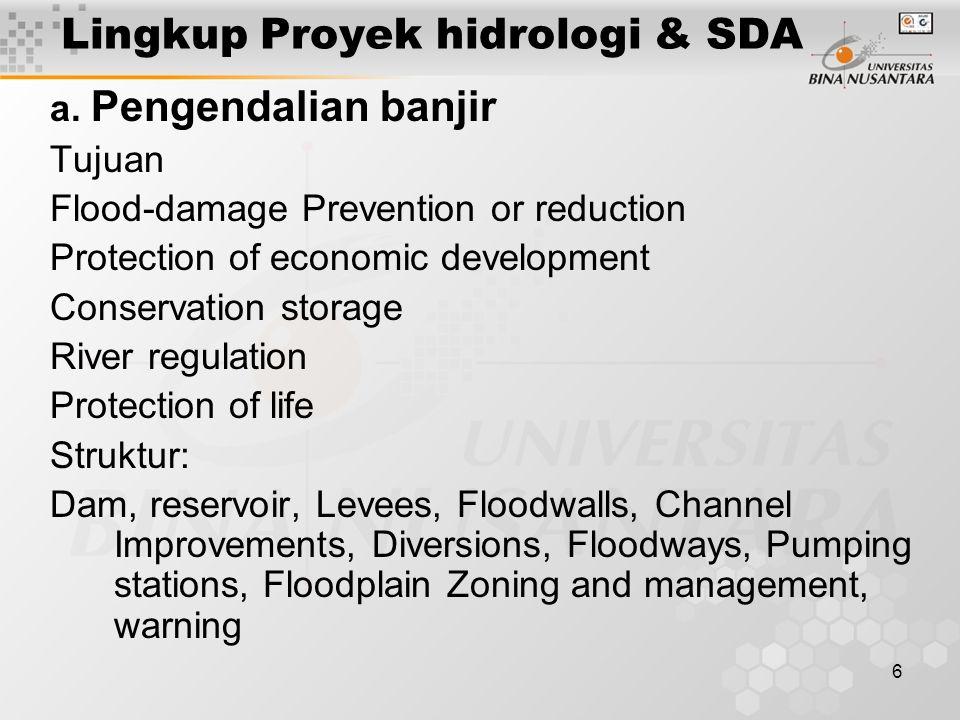 Lingkup Proyek hidrologi & SDA