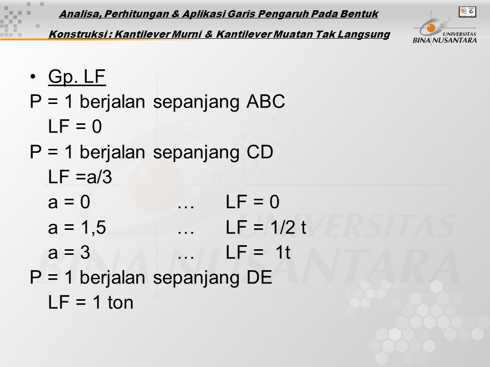 P = 1 berjalan sepanjang ABC LF = 0 P = 1 berjalan sepanjang CD