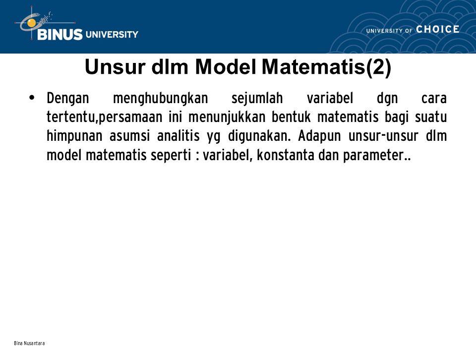 Unsur dlm Model Matematis(2)