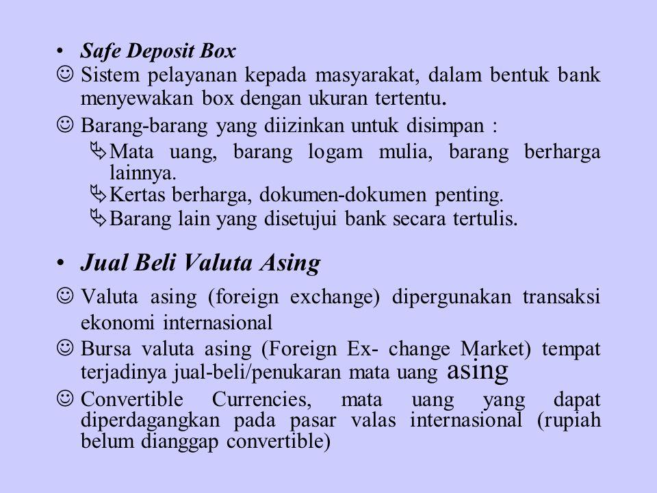 Jual Beli Valuta Asing Safe Deposit Box