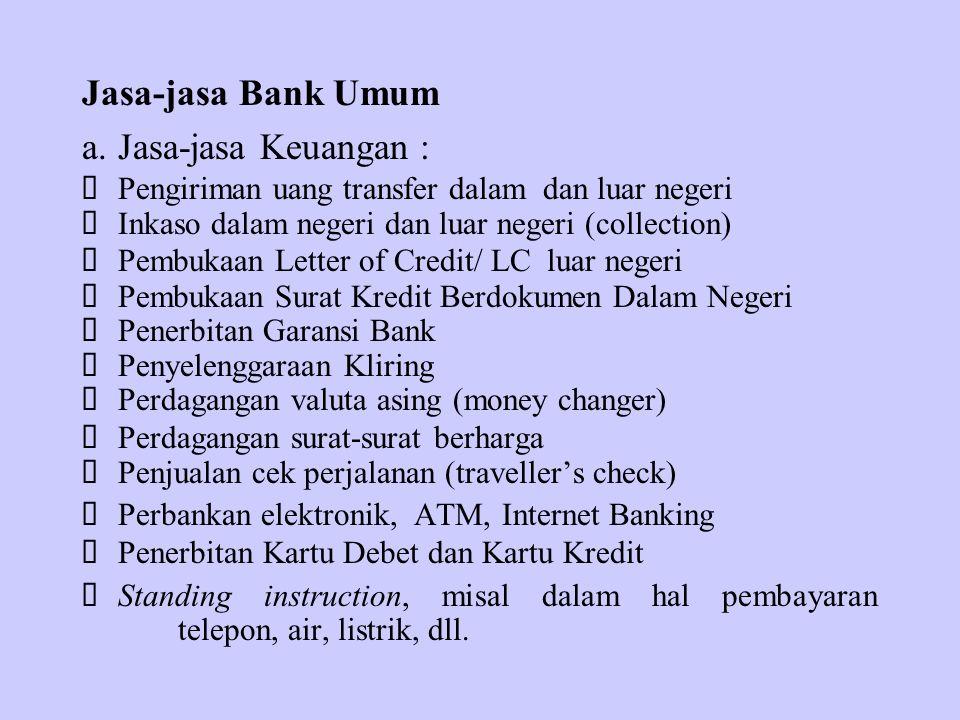 Jasa-jasa Bank Umum a. Jasa-jasa Keuangan :