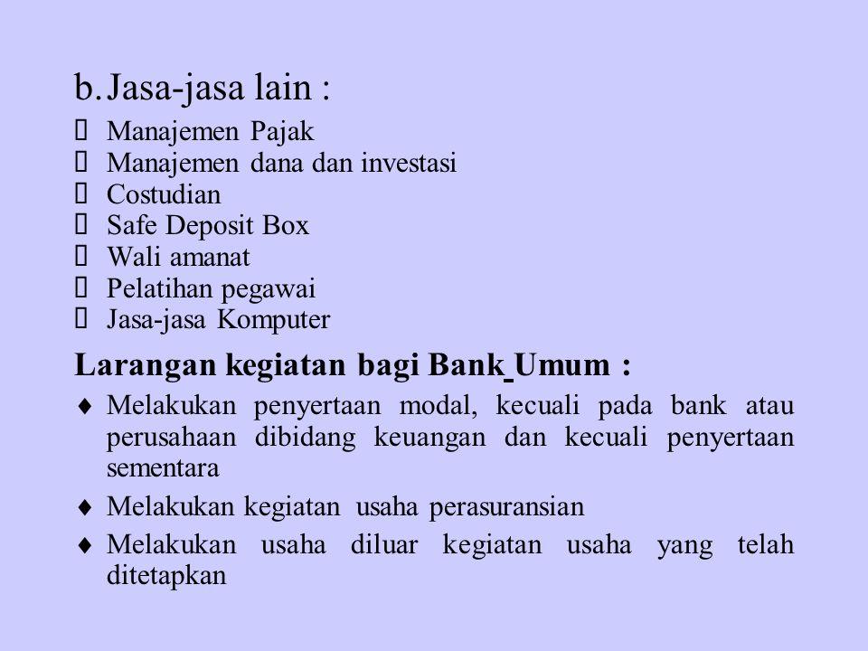 b. Jasa-jasa lain : Larangan kegiatan bagi Bank Umum :