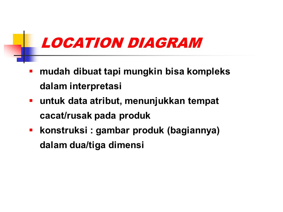 LOCATION DIAGRAM mudah dibuat tapi mungkin bisa kompleks dalam interpretasi. untuk data atribut, menunjukkan tempat cacat/rusak pada produk.