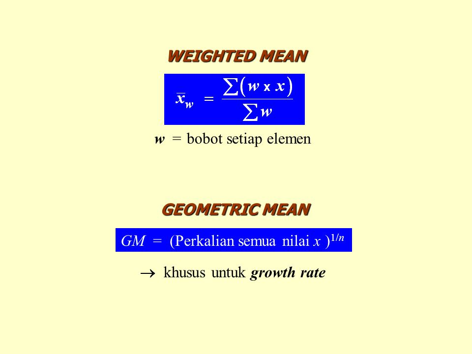 WEIGHTED MEAN w = bobot setiap elemen. GEOMETRIC MEAN.