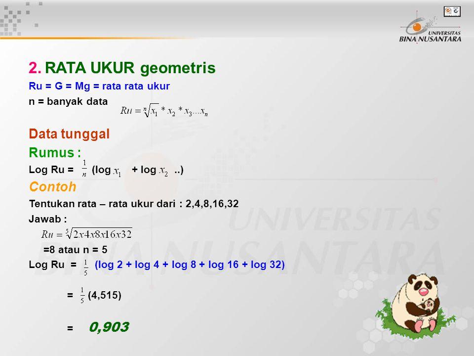 2. RATA UKUR geometris Data tunggal Rumus : Contoh