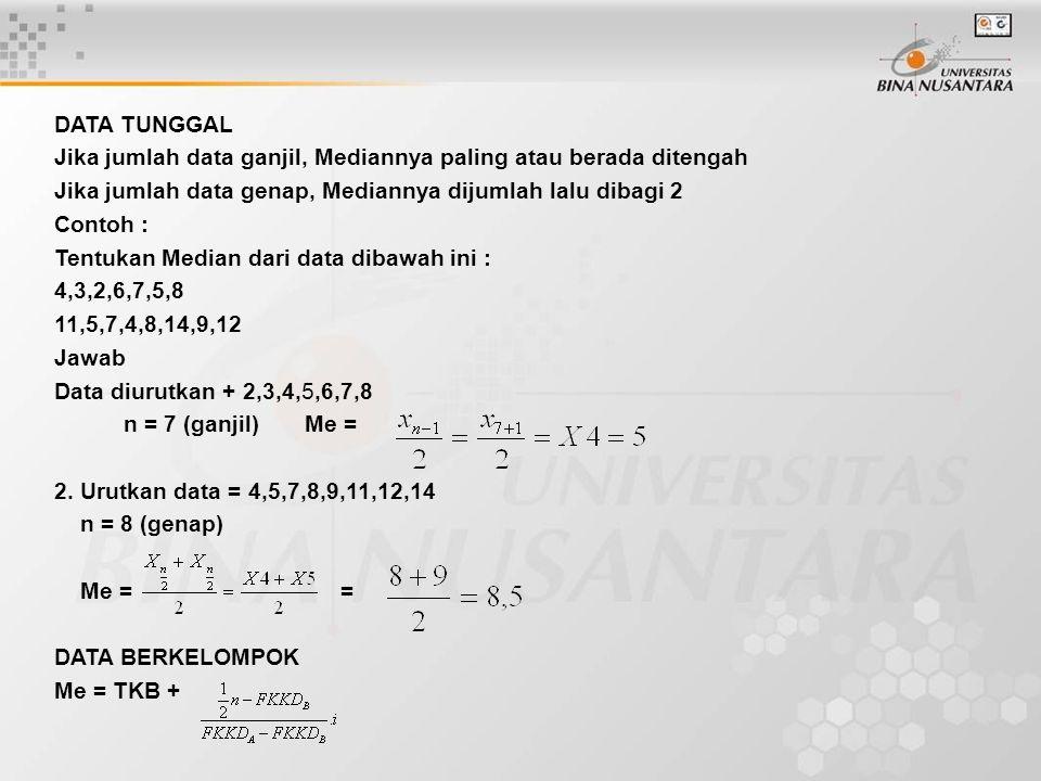 DATA TUNGGAL Jika jumlah data ganjil, Mediannya paling atau berada ditengah. Jika jumlah data genap, Mediannya dijumlah lalu dibagi 2.