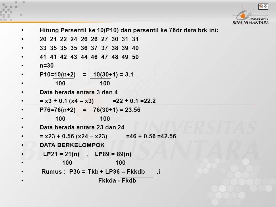 Hitung Persentil ke 10(P10) dan persentil ke 76dr data brk ini: