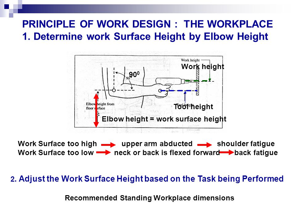PRINCIPLE OF WORK DESIGN : THE WORKPLACE 1