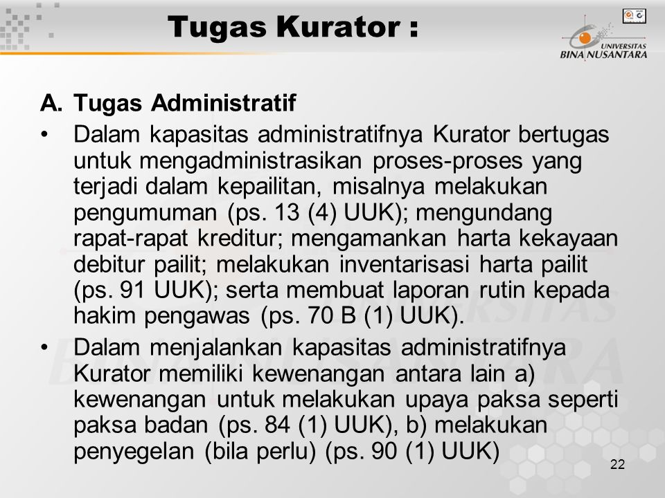Tugas Kurator : Tugas Administratif