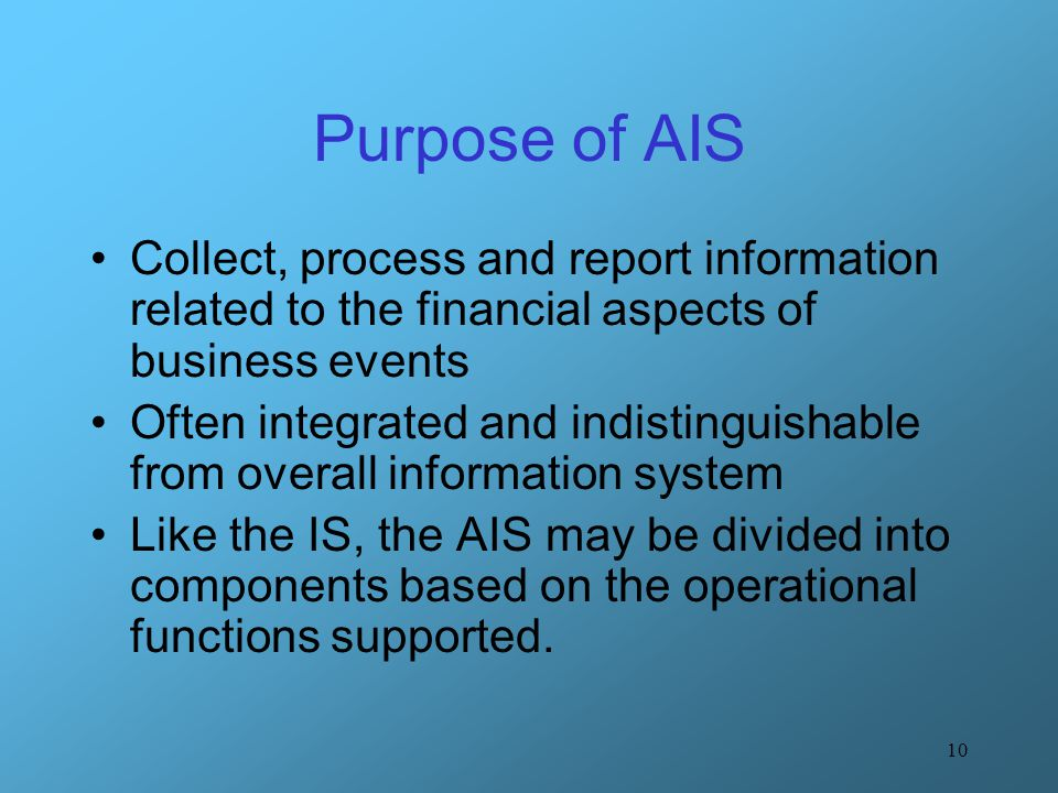 Purpose of AIS Collect, process and report information related to the financial aspects of business events.