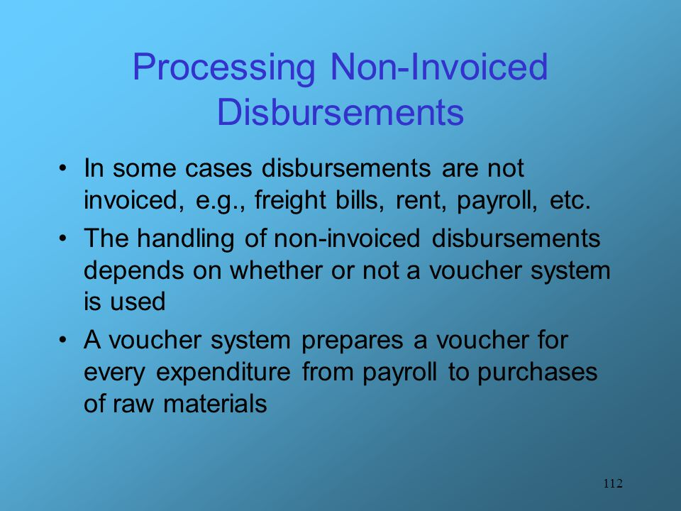 Processing Non-Invoiced Disbursements