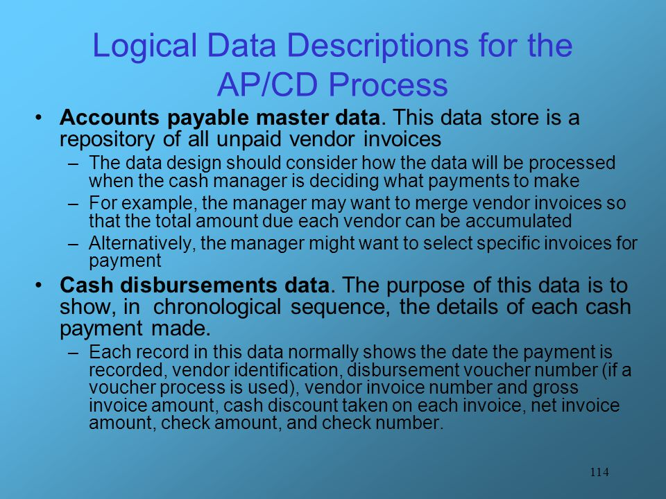 Logical Data Descriptions for the AP/CD Process
