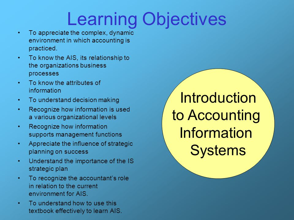 Learning Objectives Introduction to Accounting Information Systems