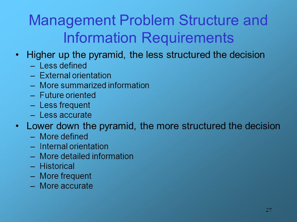 Management Problem Structure and Information Requirements