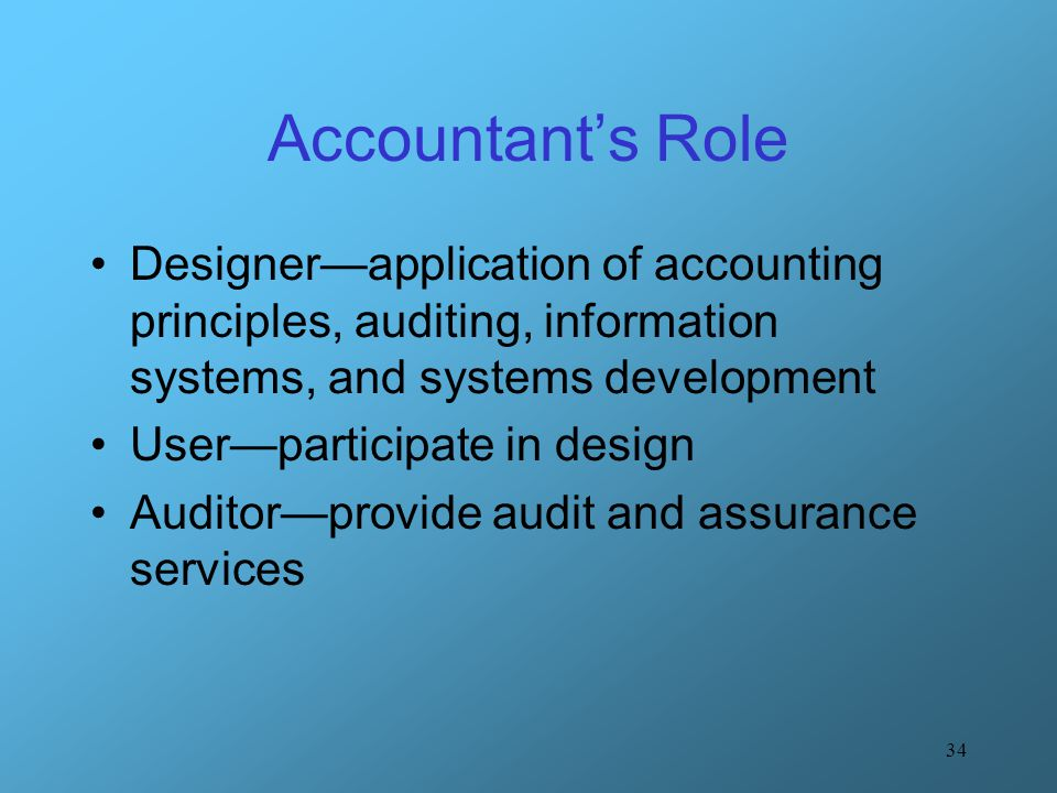Accountant's Role Designer—application of accounting principles, auditing, information systems, and systems development.