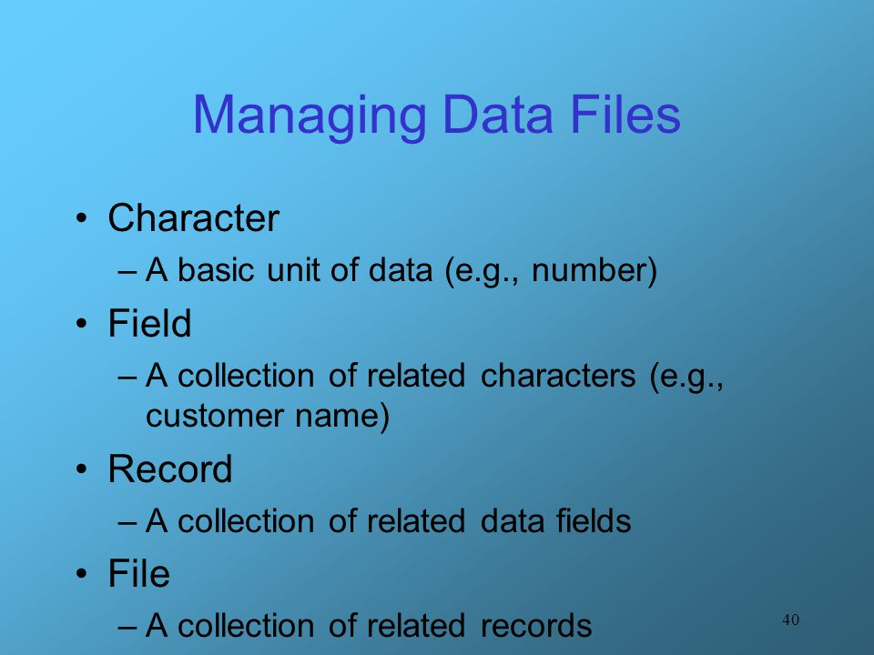 Managing Data Files Character Field Record File