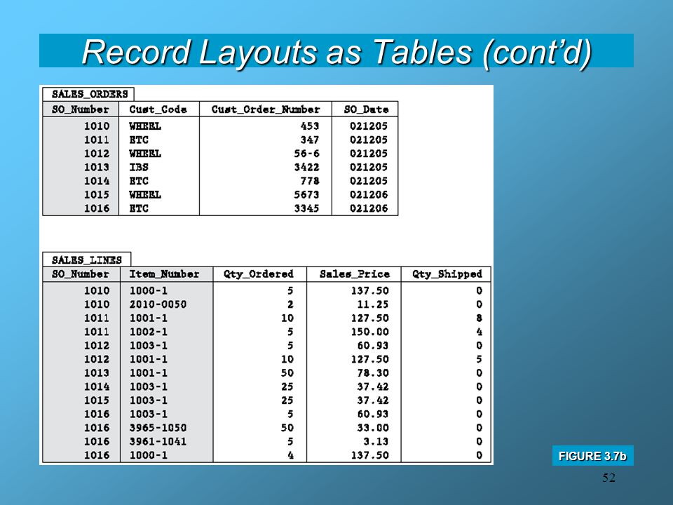 Record Layouts as Tables (cont'd)
